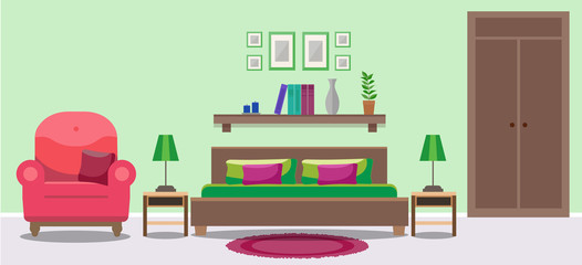 Light bedroom interior with double bed, tables, a chair, a wardrobe. Flat style vector illustration, design template