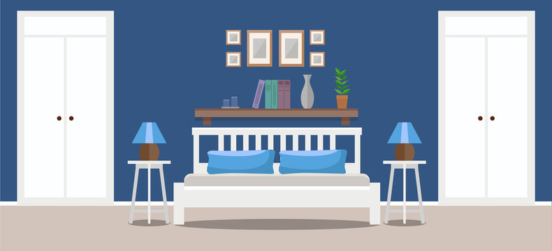 Light bedroom interior with double bed, tables, and wardrobes. Flat style vector illustration, design template