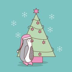 cute christmas penguin with tree pine decoration celebration vector illustration