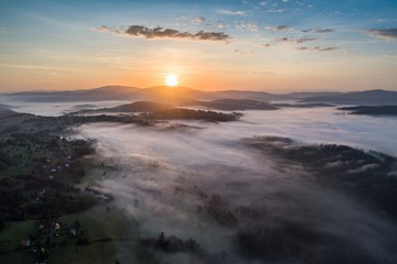 Printed kitchen splashbacks Cappuccino Beautiful foggy sunrise in mountains.
