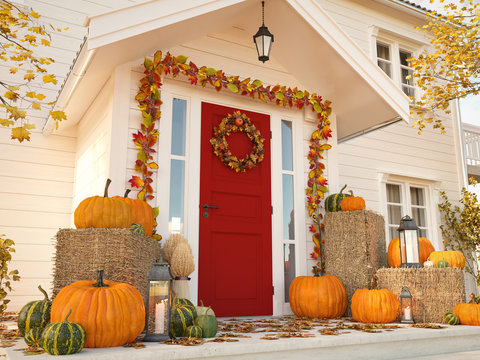 autumn decorated house with pumpkins and hay. 3d rendering