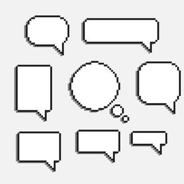 8 bit speech bubles set