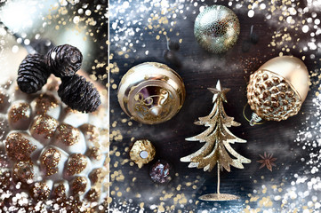 Christmas composition of gold decorations, golden trees, cones and sequins. New Year card. Creative artistic composition