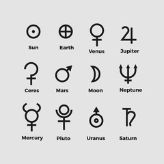 planet astrology symbols set