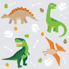 Cute seamless dinosaur pattern swatch