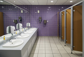 Public Bathroom with sinks, mirrors and cubicles