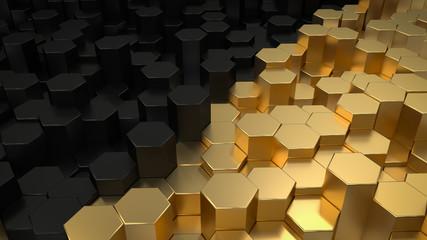 Tło 3D - czerń i złoto - sześciokąty