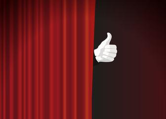 rideau - spectacle - scène - main - like - présentation - pouce - présenter