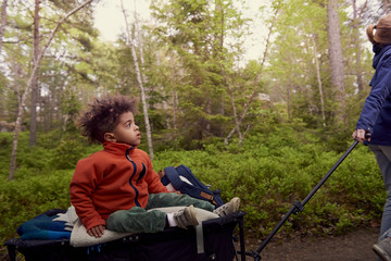 Mother pulling boy sitting on camping cart against trees in forest