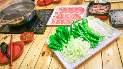 Fresh vegetables with ingredients for cooking grilled BBQ or shabu shabu and Sukiyaki Japanese food , Recommended dishes in Asian cuisine .
