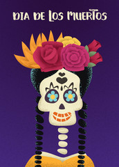 Invitation Day of the dead poster. Dia de los Muertos Calavera