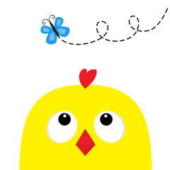 Chicken head face big eyes red beak looking up to butterfly. Happy Easter sign symbol. Cute cartoon character. Baby collection. Flat design. White background. Isolated.