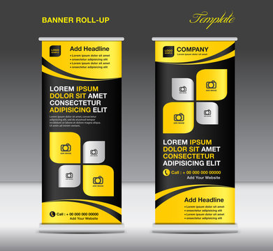 Roll up banner stand template, stand design,banner template,Yellow banner, advertisement, creative idea