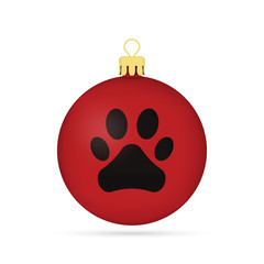 Red Christmas ball with dog paw isolated on white background. Vector illustration