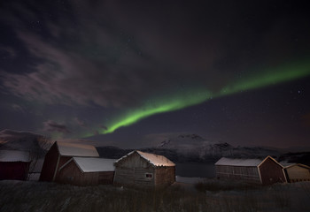 Scenic view of aurora borealis over houses at night