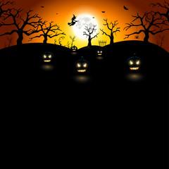 Nuit d'Halloween et citrouilles effrayantes