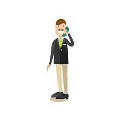 Hotel receptionist concept vector illustration in flat style