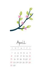 Calendar 2018 months April. Week starts Sunday