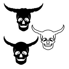 Three scary skulls with horns, silhouette-drawing on white background,
