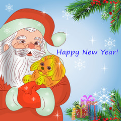 Illustration, Santa Claus in hands holding a yellow dog (symbol of the year 2018)