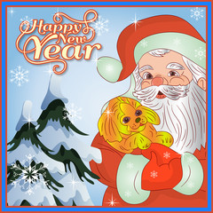 New Year card, Santa Claus in hands is wearing a yellow dog (symbol of the year 2018),