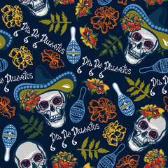 Dia De Muertos. Seamless pattern with skulls in hats with maracas, flowers with marigolds.Vector illustration.