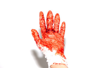 Bloody hand Gloves After surgery . Horror scary blood dirty handprint and fingerprint . For medical treatment Concept .