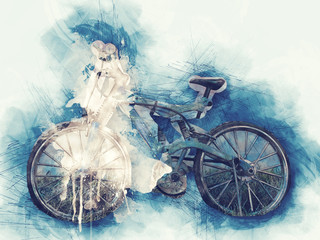 Abstract bicycle on watercolor painting background.