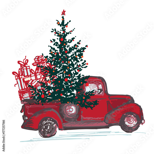 Festive New Year 2018 card. Red truck with fir tree decorated red balls isolated on white background