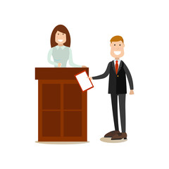 Law court people vector illustration in flat style