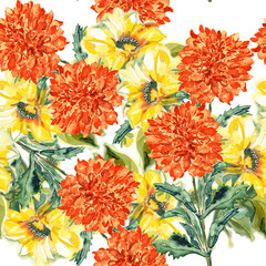 Autumn flowers, watercolor hand painting, seamless pattern