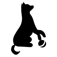 The dog isolated. Black silhouette of a dog on a white background. Black icon of a dog. Vector illustration.