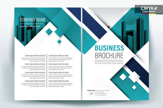 Brochure Cover Layout with Tel and white Square , A4 Size Vector Template