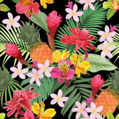 Tropical flowers seamless pattern with leaf on black background. Vector set of exotic tropical garden for wedding invitations, greeting card and fashion design.