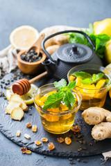 Japanese chinese tea teapot lemon ginger mint honey
