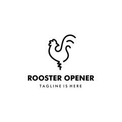 rooster chicken vector logo template as beer bottle opener