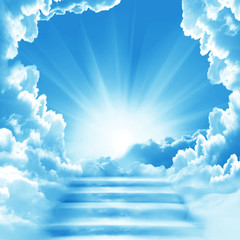 Fototapete - Stairway to Heaven.Stairs in sky.  Concept with sun and white clouds.Concept  Religion  background