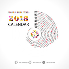 2018 Calendar Template.Spiral calendar.Calendar 2018 Set of 12 Months.Vector design stationery template.Week starts Monday.