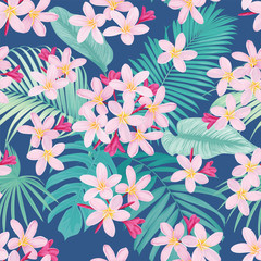 Tropical flowers seamless pattern with leaf on blue background. Vector set of exotic tropical garden for wedding invitations, greeting card and fashion design.