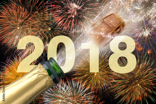 champagnerflasche mit fliegendem korken und feuerwerk zu silvester 2018 stockfotos und. Black Bedroom Furniture Sets. Home Design Ideas