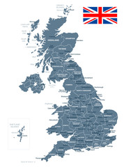United Kingdom - map and flag illustration