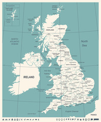 United Kingdom Map - Vintage Vector Illustration
