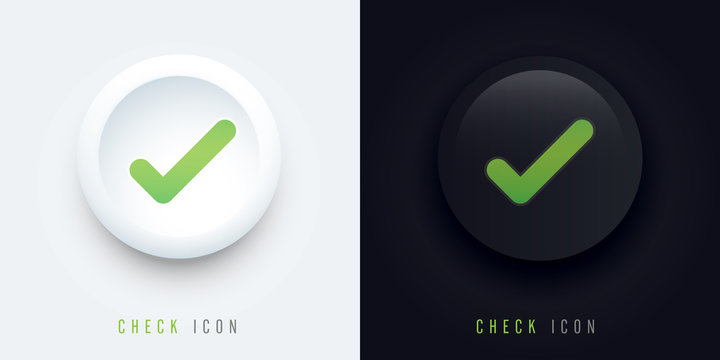 check icon buttons of validation icons with shadow, check pictogram for signage or websites