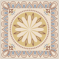 Arabic style tiles for wall and floor. Modern decor of the traditional encaustic technique. Ceramic decorative tiles.