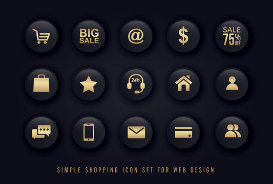 simple shopping icon gold on black button background vector set for website e-commerce