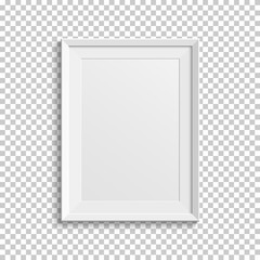 Realistic white picture frame on transparent background.