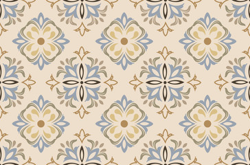 Flowers pattern vector with ceramic print. Background with portuguese azulejo, mexican talavera, spanish, italian majolica motifs.