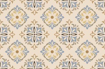 Flowers pattern vector with ceramic print. Background with portuguese azulejo, mexican talavera, spanish, italian majolica motifs.