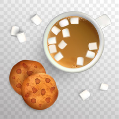 Cup of coffee with marshmallow and cookies with chocolate. Top view. Cup of coffee and cookies for breakfast, isolated vector illustration