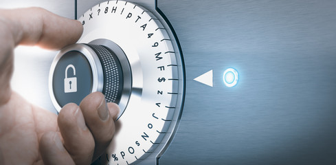 Hand turning a safe lock dial with numbers, punctuations, letters and symbols. Concept of Safe and secured password generation.